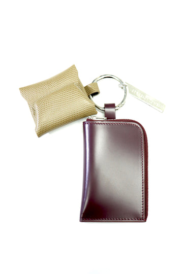 soe  Leather Key Ring(BURGUNDY / BEIGE)