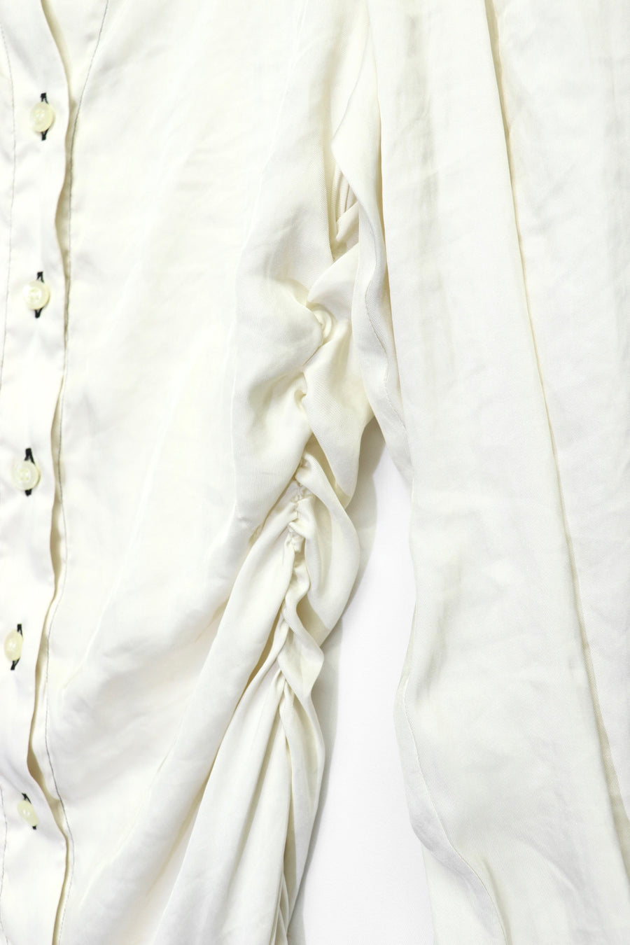 FETICO  Gathered Satin Shirt (White)