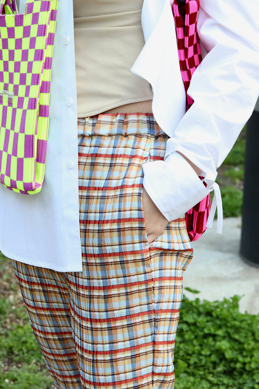 BELPER PLEATED PANTS(MADRAS CHECK)