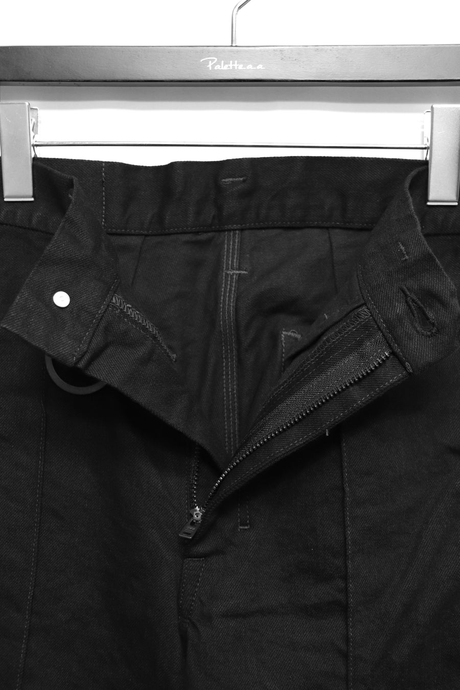 [ー]MINUS SIGUNATURE DENIM TROUSERS(FADED BLACK FLARE)