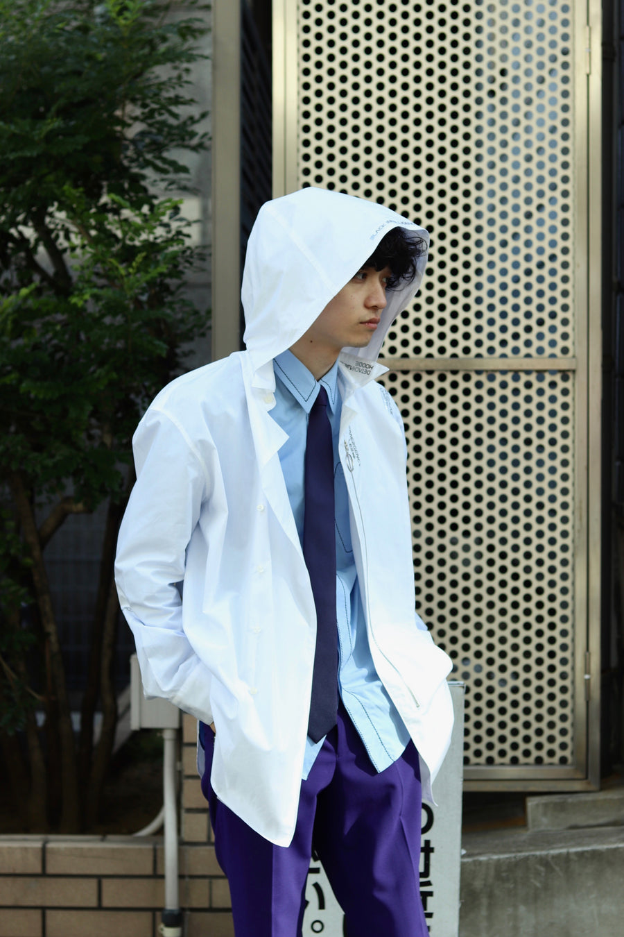 YUKI HASHIMOTO  DETACHABLE HOODED SHIRTS(WHITE)