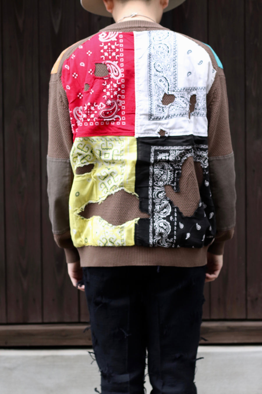 Children of the discordance  7G CRUSH BANDANA PATCHWORK KNIT PULLOVER