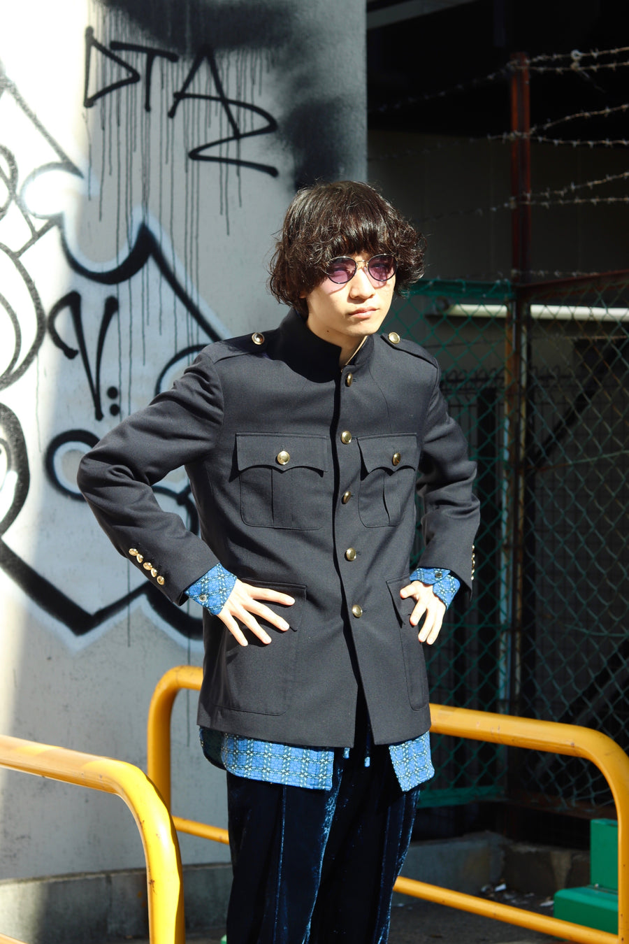 【30%OFF】LITTLEBIG  Stand Collar Safari Jacket(BEIGE or NAVY)