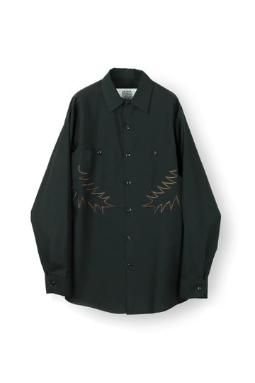 elephant TRIBAL fabrics Palm leaf embroidery work shirt(BLACK)