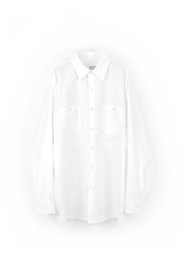 elephant TRIBAL fabrics Palm leaf embroidery work shirt(WHITE)