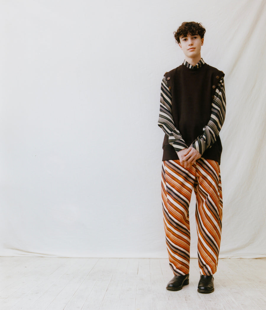 MASU  VASE PATTERN WORK PANTS(FADED ORANGE)