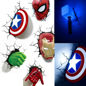 Marvel 3D LED Light Thor Hammer Lampada da muro