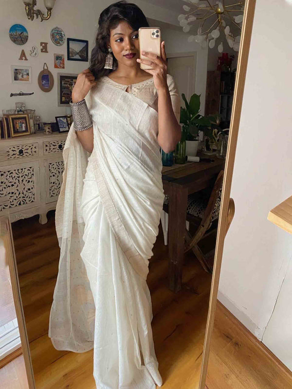 White handwoven Eri silk saree with sequin work