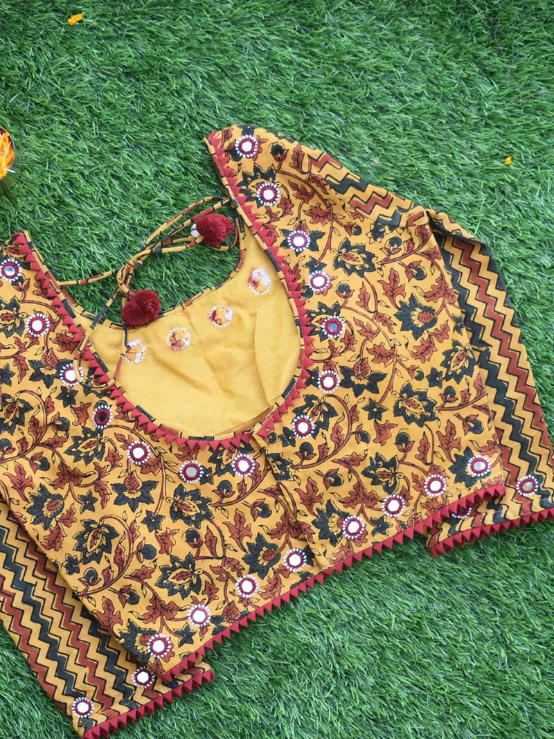 Yellow Floral Ajrakh hand block printed Kutch mirror work blouse