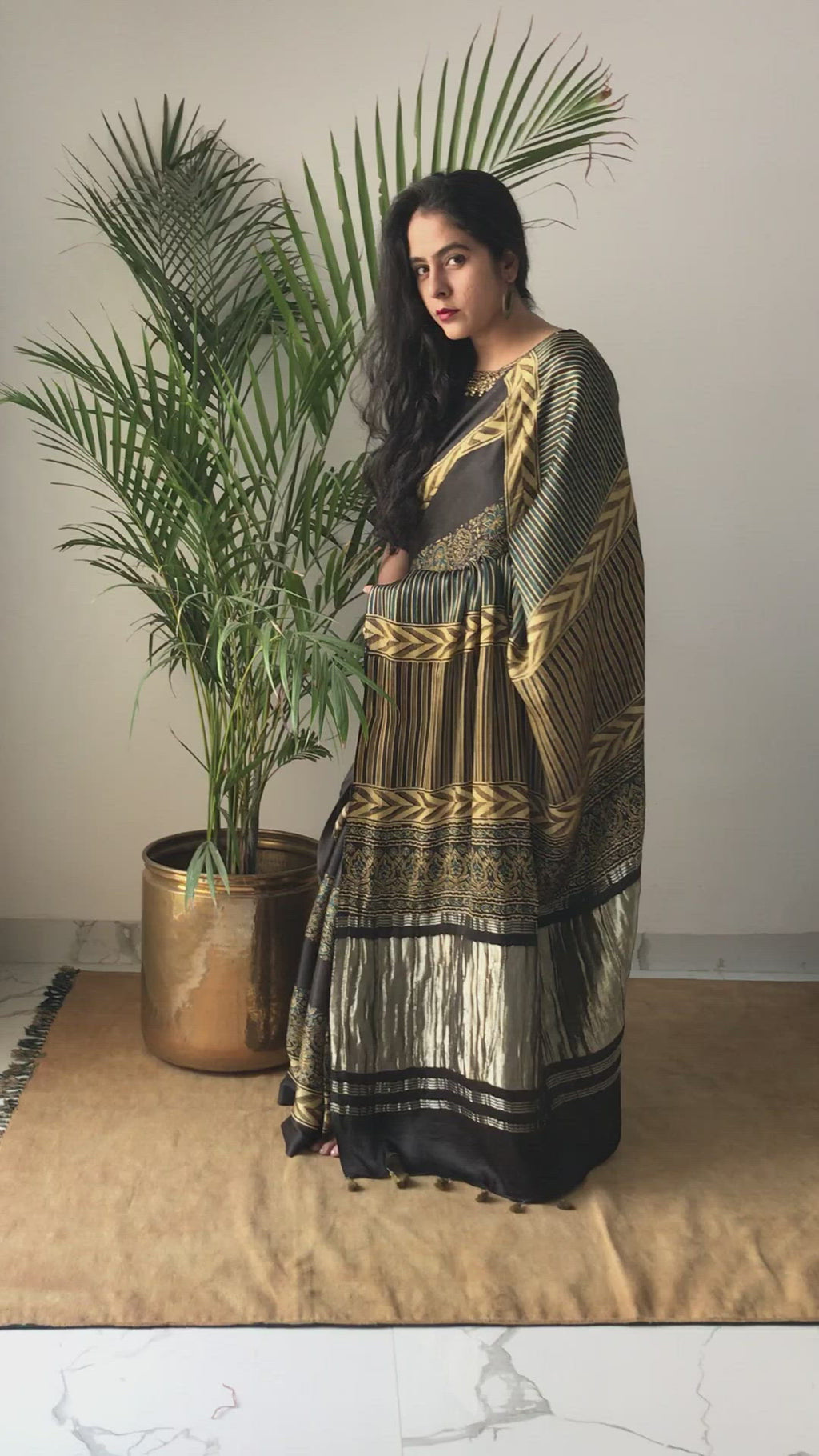 Black Floral Ajrakh Modal silk Saree video