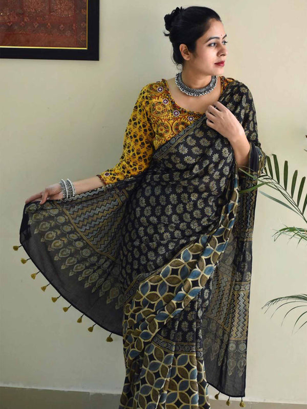 Ajrakh mul mul cotton saree