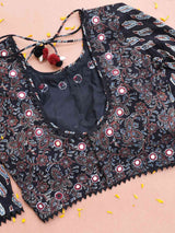 Ajrakh kutch mirror work black designer blouse back design