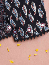 Ajrakh kutch mirror work black designer blouse sleeve design