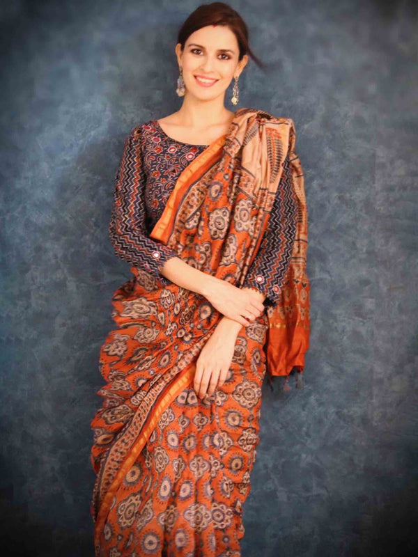 Ajrakh Chanderi silk saree