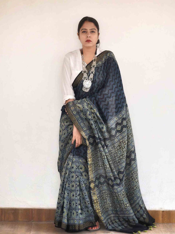 Ajrakh hand block printed chanderi silk saree