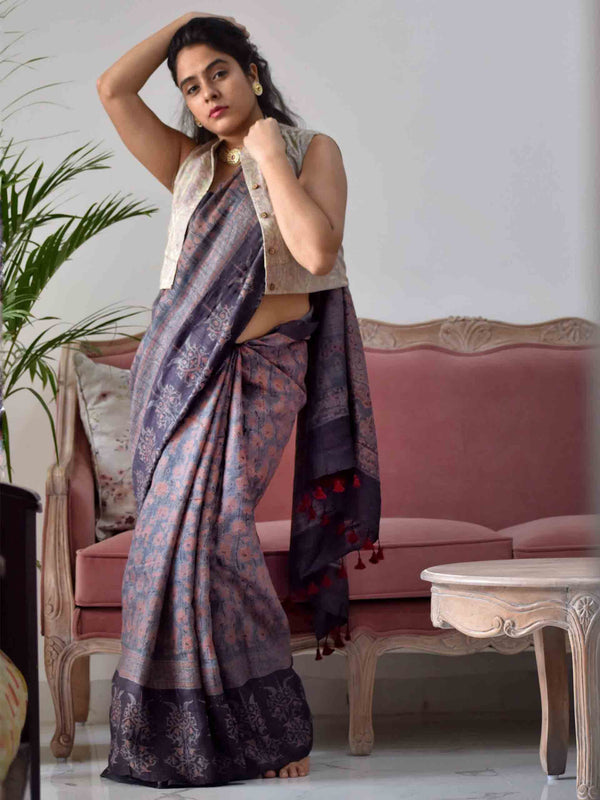 Purple Ajrakh hand block printed handwoven Tussar silk saree