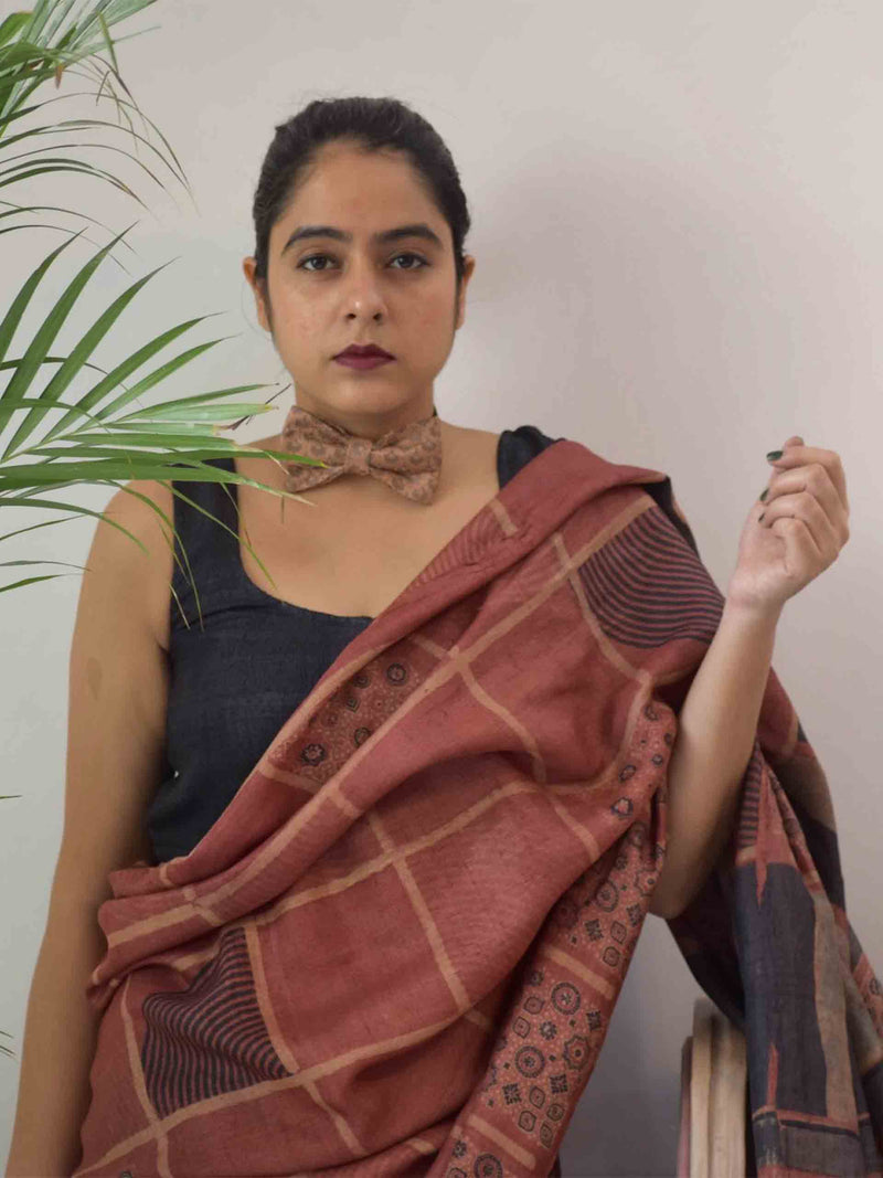 Chocolate Brown Ajrakh hand block printed handwoven Tussar silk saree