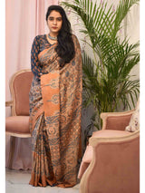 Cream-Peach Ajrakh hand block printed handwoven Tussar silk saree