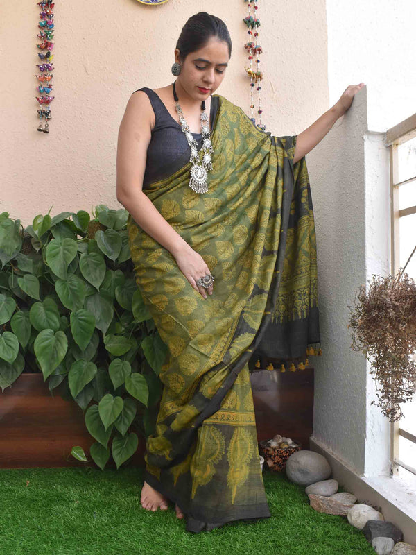 Green-Yellow Ajrakh hand block printed handwoven Tussar silk saree