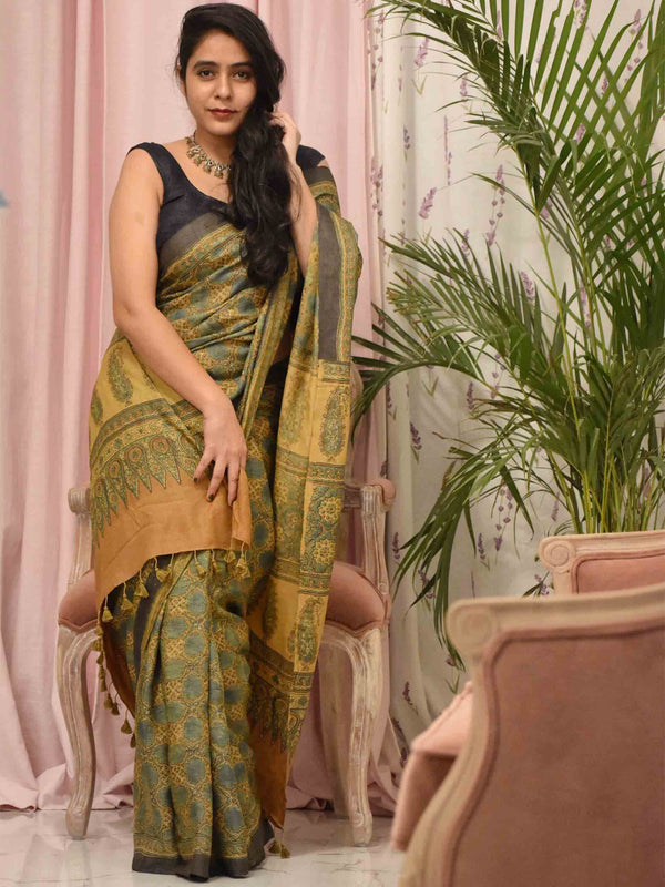 Yellow-Green Ajrakh hand block printed handwoven Tussar silk saree