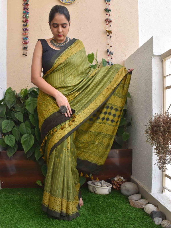 Green Ajrakh hand block printed handwoven Tussar silk saree
