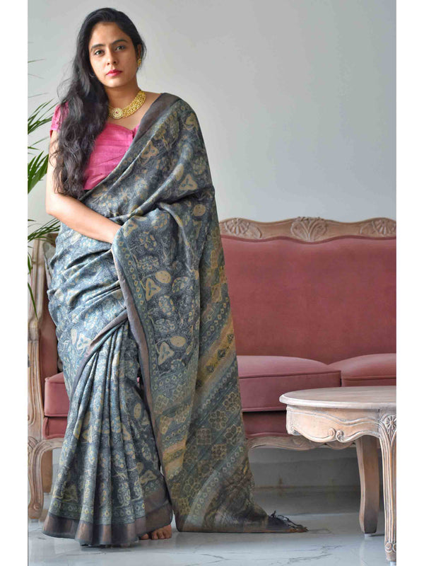 Black-Grey Ajrakh hand block printed handwoven Tussar silk saree