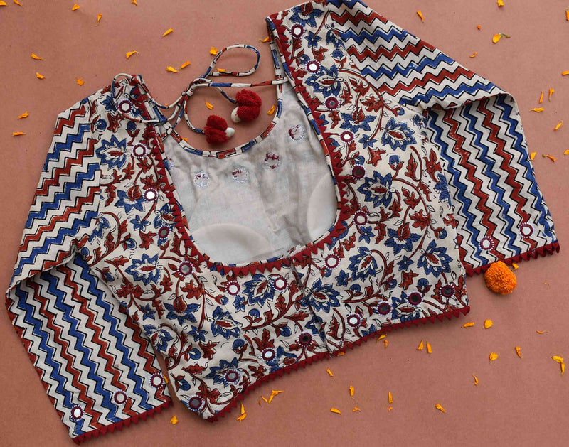 White Ajrakh kutch mirror work blouse