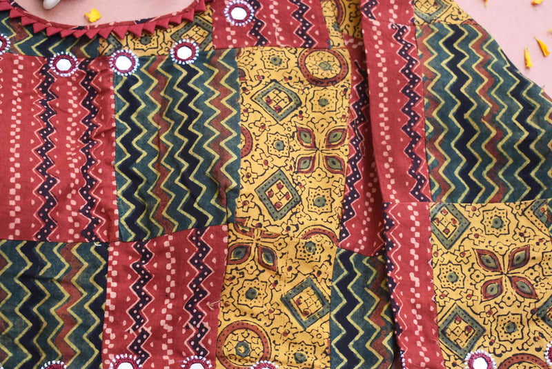 Ajrakh kutch mirror work patch work blouse