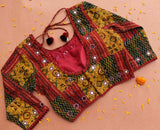 Ajrakh kutch mirror work patch work blouse\
