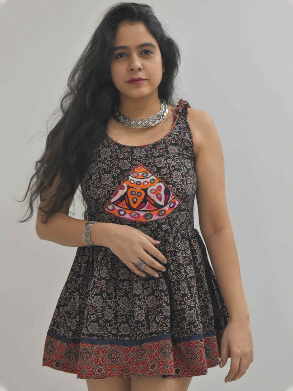 Ajrakh kutch mirror work short top