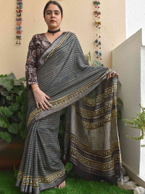 Grey Blue Stripes Ajrakh hand block printed Linen cotton saree