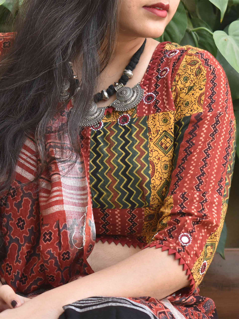 Patchwork Ajrakh handblock printed Kutch mirror work blouse