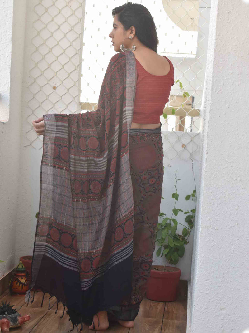 Brown Ajrakh hand block printed Linen cotton saree