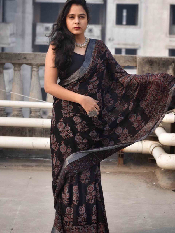 Black Ajrakh hand block printed linen cotton saree