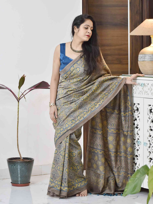 Grey Ajrakh chanderi silk saree