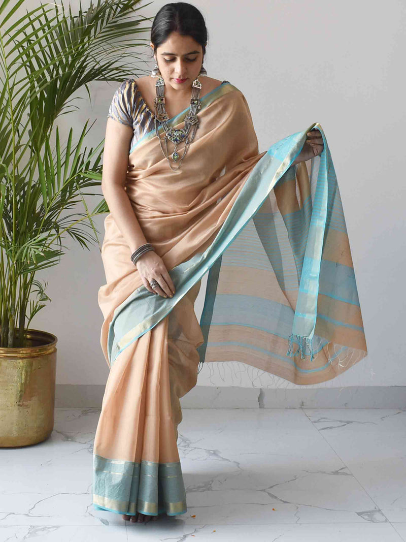 Beige-Blue Maheshwari Silk Saree with Zari Pallu and Border styling