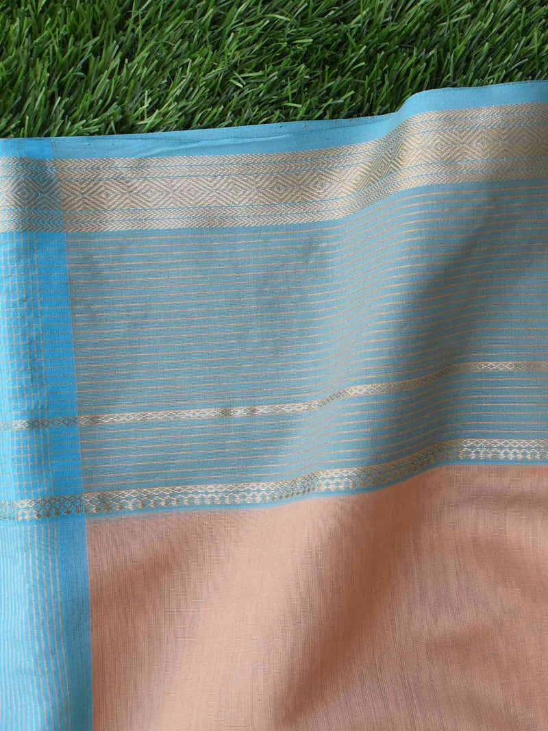 Beige-Blue Maheshwari Silk Saree with Zari Pallu and Border styling pallu