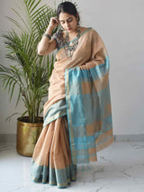 Beige-Blue Maheshwari Silk Saree with Zari Pallu and Border styling draping