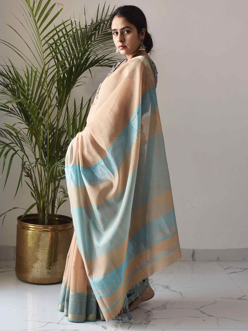 Beige-Blue Maheshwari Silk Saree with Zari Pallu and Border styling poses