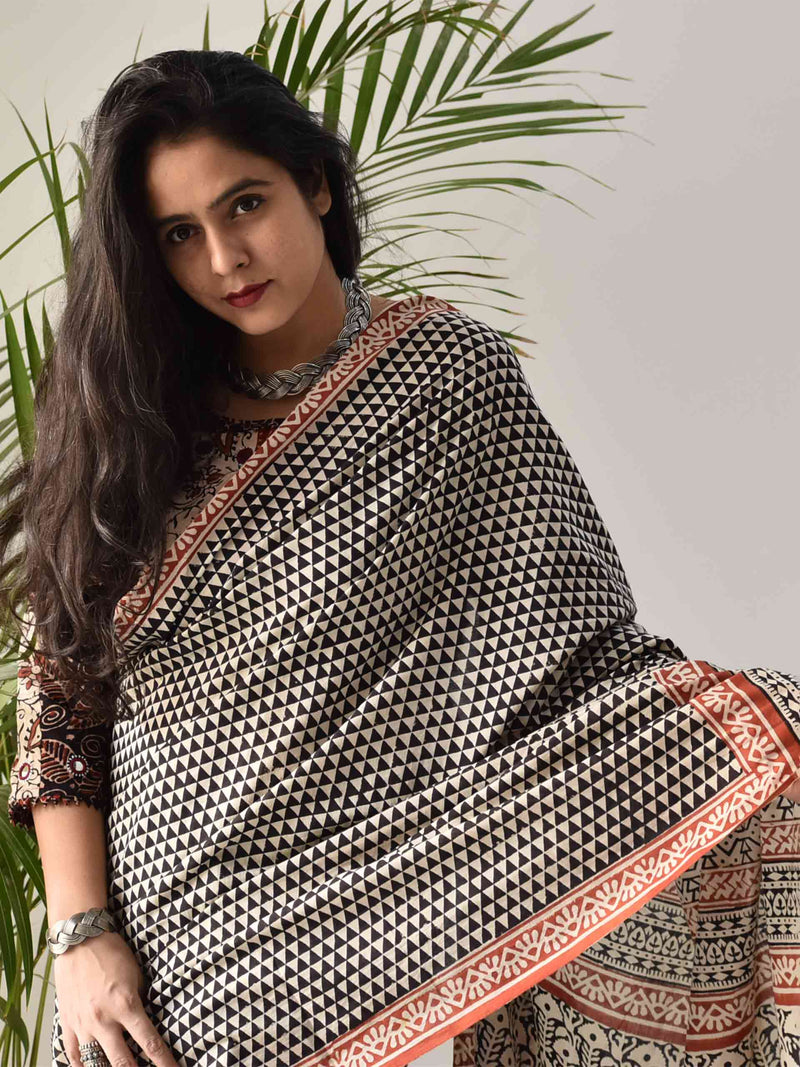 Beige Bagru hand block printed cotton saree draping style home