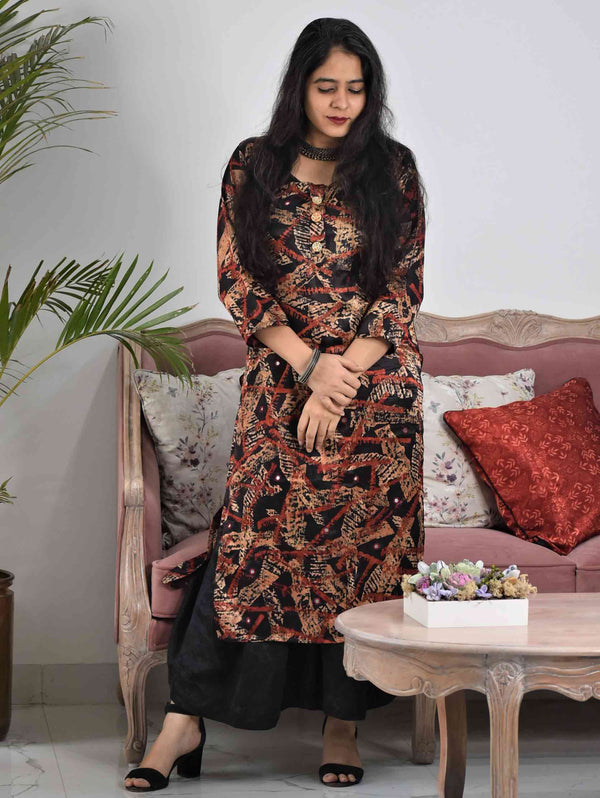 Black Abstract Ajrakh Mashru Silk Kurti Dress