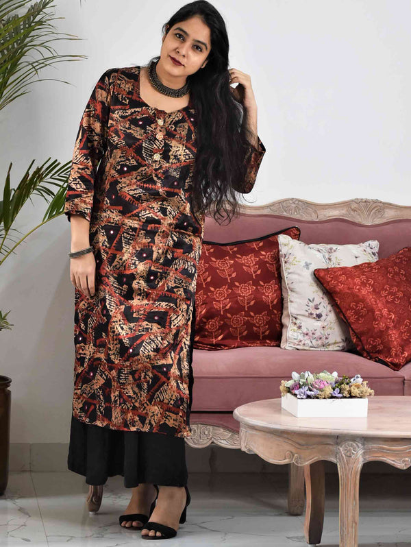 Black Abstract Ajrakh Mashru Silk Dress