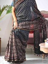 Ajrakh black chanderi saree