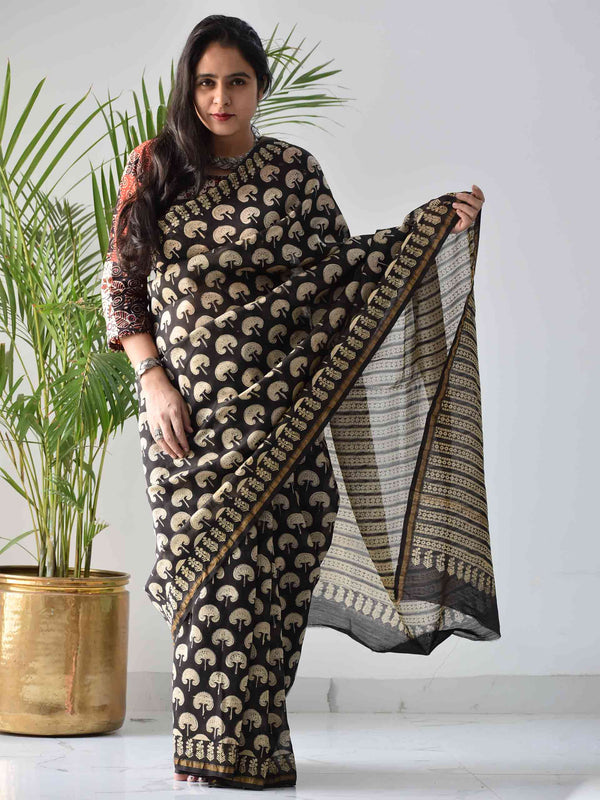 Black Dabu Chanderi silk saree draping