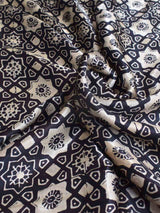 Black Eight Pointed Star Ajrakh Modal Silk Saree body photo