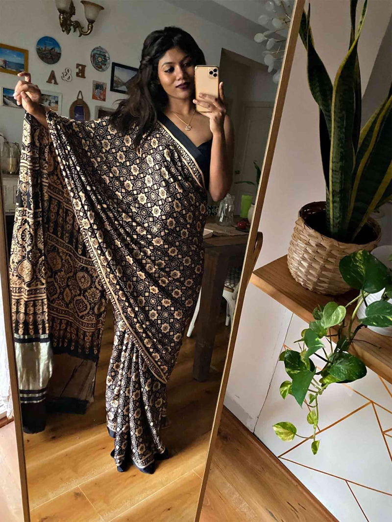 Black Eight Pointed Star Ajrakh Modal Silk Saree draping