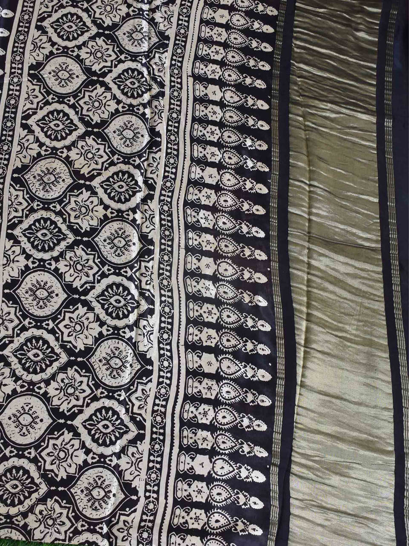 Black Eight Pointed Star Ajrakh Modal Silk Saree pallu photo