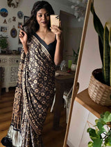 Black Eight Pointed Star Ajrakh Modal Silk Saree