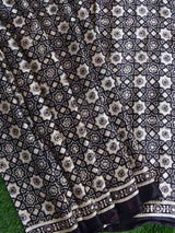 Black Eight Pointed Star Ajrakh Modal Silk Saree product photo