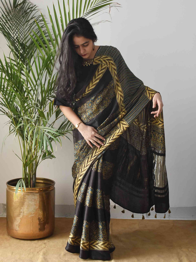 Black floral Ajrakh modal silk saree draping poses